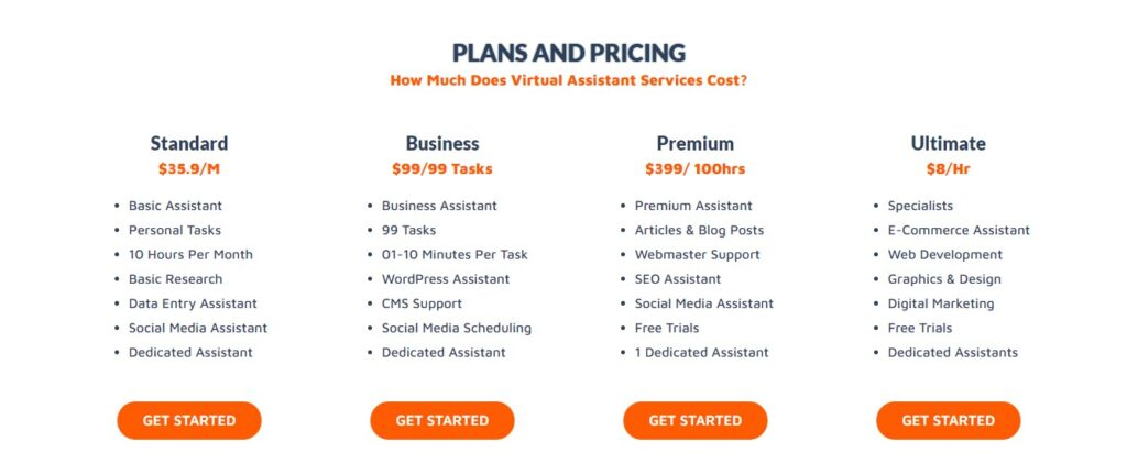 best virtual assistant companies-virtualouspro-pricing